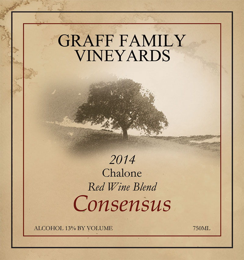 Wine label for Graff Family Vineyards Consensus Blend